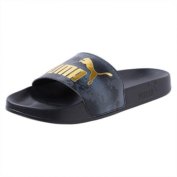 PUMA LEADCAT SNAKE LUX 輕量蛇紋拖鞋黑金女款 37069301【FEEL 9S】