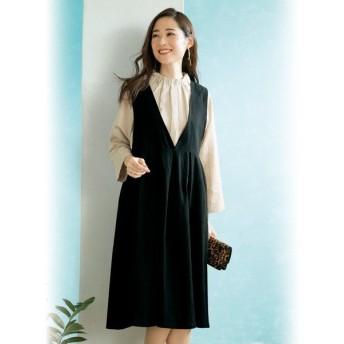 ワンピース シンプル 黒 レディース 春 / ゆったりジャンパードレス / 40代 50代 60代 70代 ミセスファッション シニアファッション 婦人 服 かわいい