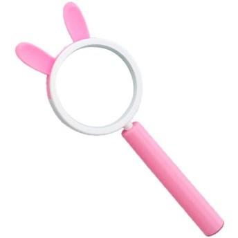 子供たちが実験を探索して探索するための手持ちの子供用読書虫眼鏡、3倍かわいいパターンの甘いスタイルでズームイン (色 : ピンク)