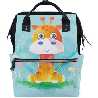 赤ちゃんキリンブルーハートおむつ バッグ バックパック ママバッグ カジュアル 軽量 大容量 トラベル マミー用