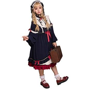【姫洋服】 洋服 レディース Lolita ロリータ 秋冬 蝶結び プリンセスドレス 姫式 可愛い 紺色 S