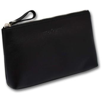 [CALF カーフ] 本革 皮革ポーチ Mサイズ ブラック black レザー 通帳ケース 貴重品入れ 鞄 整理 メンズ 贈り物 ギフト