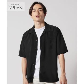 (THE CASUAL/ザカジュアル)(アップスケープオーディエンス) Upscape Audience 日本製レーヨンライクピーチファイユ ルーズFITオープンカラーハーフスリーブシャツ/メンズ ブラック