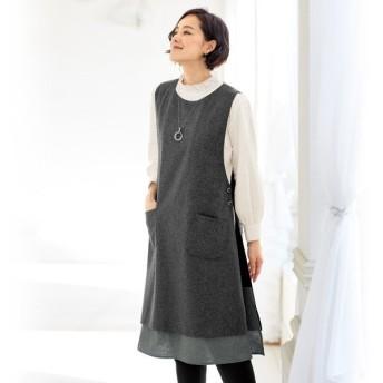 ウール混サイドボタン使いジャンパードレス / 40代 50代 60代 70代 ファッション シニア ミセス レディース 婦人服