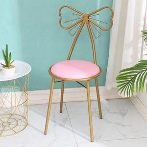 現代簡約梳妝臺凳子ins北歐少女心臥室靠背公主蝴蝶結美甲化妝椅