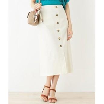 【grove:スカート】リネン調ボタンAラインスカート