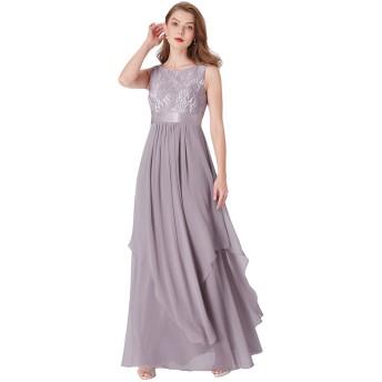 Ever Pretty レディース ウエディングドレス イブニングドレス 結婚式 レース オシャレドレス 春夏 US04 グレー