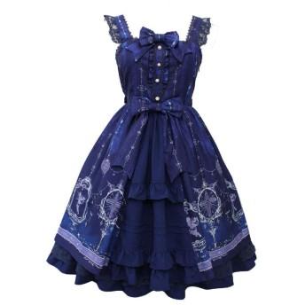 【姫洋服】 洋服 レディース ワンピース Lolita ロリータ 十字架 天使 レース付き プリンセスドレス 姫式 ブルー M