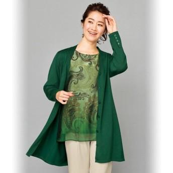 パネルプリント使いアンサンブル / 40代 50代 60代 70代 シニア ミセス ファッション レディース 婦人服 ニット カーディガン チュニック きれいめ