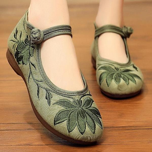 繡花鞋-老北京布鞋女繡花鞋中老年人女鞋老人軟底女士鞋子