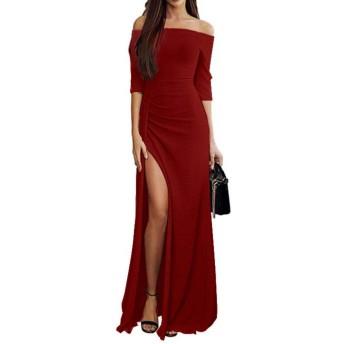 女性のドレス、三番目の店 レディーズ 披露宴 忘年会 結婚式 ファッション カジュアル プリンセス ドレス Oネック ルーズ ソリッド ワンピース スカート オフショルダー マキシ イブニングパーティー ロングドレス