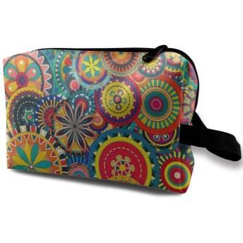 Colorful Floral Pattern 収納ポーチ 化粧ポーチ 大容量 軽量 耐久性 ハンドル付持ち運び便利。入れ 自宅・出張・旅行・アウトドア撮影などに対応。メンズ レディース トラベルグッズ