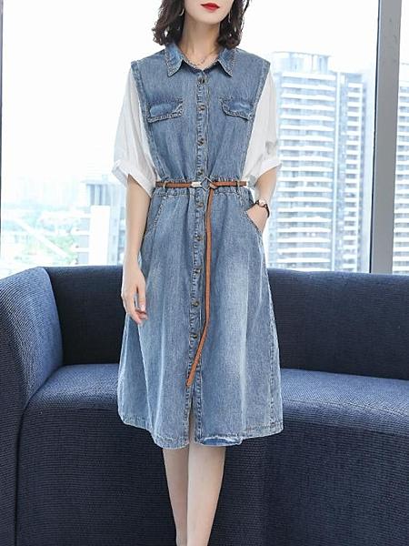 大碼女裝短袖新款牛仔裙子夏季中長款顯瘦遮肚子洋裝 淇朵市集