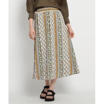 Dessin(Ladies)(デッサン(レディース)) 【洗える】インドパネル柄ミモレスカート