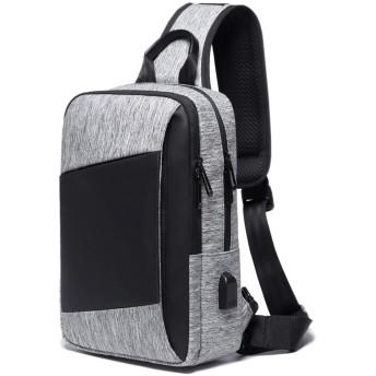 YUCG ボディバッグ メンズ 斜めがけ 大容量 ワンショルダーバッグ 防水 USB充電ポート 肩掛けバッグ iPad収納可能 通勤(グレー B1)