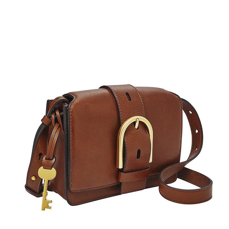 FOSSIL WILEY 真皮復古美型側背包 咖啡色 ZB7885200
