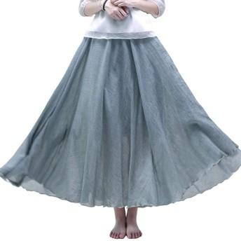 AMBLY スカート レディース ロングスカート マキシスカート 綿麻 膝下 Aライン 無地 夏 ゴム 大きいサイズ