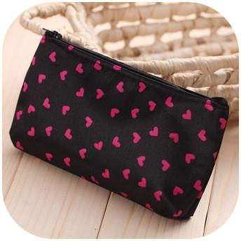 ファッションミニ財布トラベルウォッシュバッグトイレタリーメイクアップケース甘い花化粧品バッグオーガナイザー美容ポーチキットメイクポーチ、ブラック