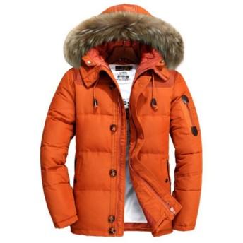 (ニカ)ダウンジャケット メンズ フード付き ダウンコート 冬 軽量 防寒 防風 ファッション 中綿コート ジャケット コート ジャンパー ブルゾンオレンジT1