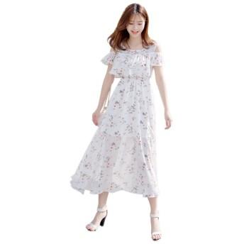 シフォン 肩出し ワンピース レディース 花柄 ドレス マキシ ロング オフショル 半袖着痩せ ワンピ ホワイト+花S