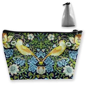 ウィリアムモリスの鳥の花のいちごの罰金デザイン 化粧ポーチ メイクポーチ コスメポーチ 化粧品収納 ミニ 財布 小物入れ 軽い 軽量 防水 旅行も携帯便利 多機能 バッグ 小さな化粧品の袋