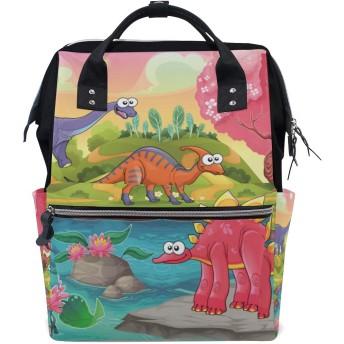 ANNSIN マザーズバッグ ママバッグ リュック バックパック ハンドバッグ 3WAY 多機能 防水 大容量 軽量 シンプル おしゃれ ベビー用品収納 出産準備 旅行 お出産祝い 恐竜 可愛い