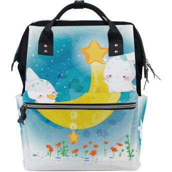 うさぎ水彩画ムーンバニーおむつ バッグ バックパック ママバッグ カジュアル 軽量 大容量 トラベル マミー用