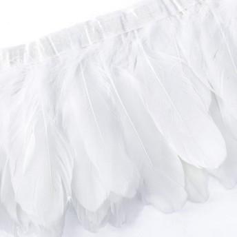 MG 羽のフリンジ ルースターコック DIY 衣類 家庭 バッグ 帽子 工芸品アクセサリー 装飾用 羽根フリンジ 17x200cm (ホワイト)