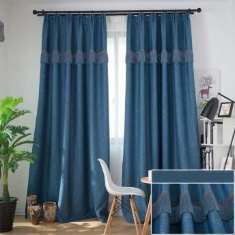 カーテン窓カーテンガーゼベッドルーム陰干し布プリーツブラインド遮光カーテン、リビングルームバルコニー寝室装飾窓 (色 : 濃紺, サイズ さいず : 1W1.5H2.7M)