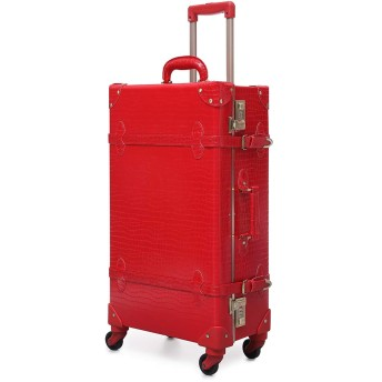Urecity トランクケース キャリーバッグ 革 手作り 復古主義 レトロ おしゃれ かわいい 超軽量 旅行 出張 大容量 静音四輪 (赤いワニ柄, Sサイズ(20 機内持込 34L))