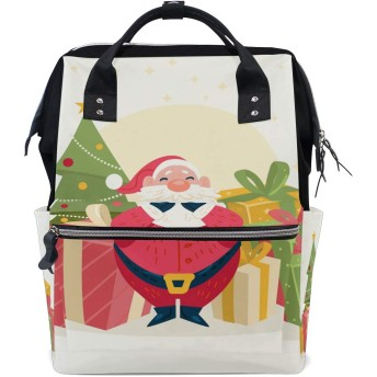 かわいいクリスマスサンタクロース旅行 バックパック 大おむつ オムツ バッグ ラップトップ バックパックレディース メンズ 用