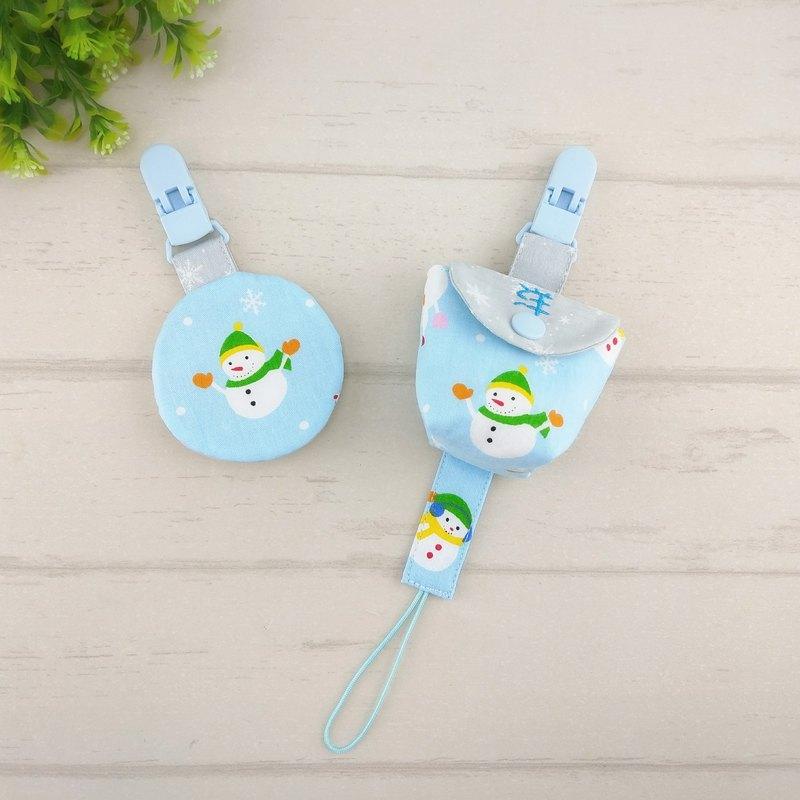 歡樂雪人-2色可選。3件組 。平安符袋+奶嘴袋+奶嘴鏈(可繡名字)