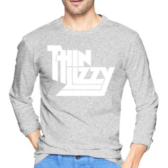 シン・リジィTHIN LIZZY Tシャツ 長袖 メンズ ロングスリーブ 丸首 無地 綿 カジュアル ゆったり 薄手 4色 大きいサイズ
