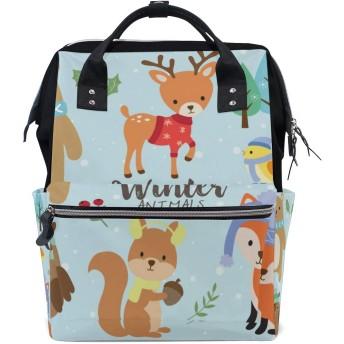 ママバッグ マザーズバッグ リュックサック ハンドバッグ 旅行用 冬の雪 動物 熊 狐 鹿柄 ファション