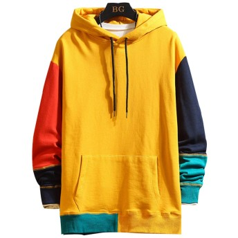 CXYYメンズ パーカー メンズ 大きいサイズ トップス オシャレ Tシャツ インナー プルオーバー(L=日本S 3.イエロー)
