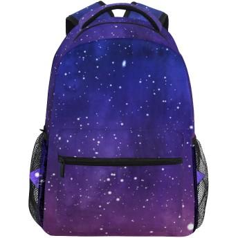GUKISALA リュックサック、宇宙いっぱいの星月水彩画、バックパック 男女兼用 アウトドア旅行バッグ オシャレ 可愛い 通勤 通学用 軽量 高校生
