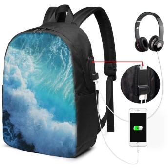 海 バッグ 17インチ USB充電ポート付き バックパック 調節可能なショルダーストラップ アウトドアリュック 登山リュック 季節新品 多機能 通学 通勤 出張 旅行用 大容量 黒 メンズ レディース通用