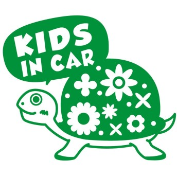 imoninn KIDS in car ステッカー 【シンプル版】 No.53 カメさん (緑色)