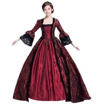 starvcos レディース ロング ドレス 中世風 ワンピース 長袖 貴族 ドレス パーティー 大人用 L