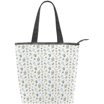 KENADVIトートバッグ 最高級 軽量 キャンバス レディース ハンドバッグ 通勤 通学 旅行バッグ、フェミニンなロマンチックな外観の水彩画のバラと葉、スタイリッシュ グラフィックス 収納袋