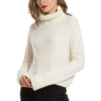 Woolen Bloom セーター レディース タートルネック トップス 秋 冬 ファッション ショート ニット セーター ハイネック 薄手 軽量 長袖 ゆったり 可愛い 無地