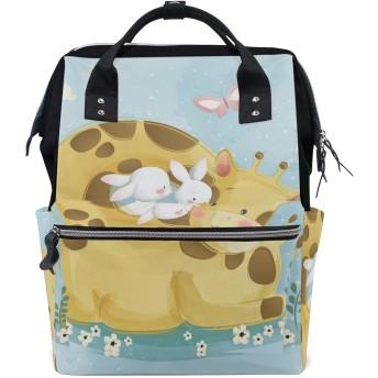 かわいいキリン鹿ウサギ旅行 バックパック 大おむつ オムツ バッグ ラップトップ バックパックレディース メンズ 用