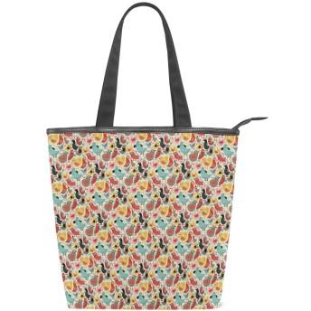 KENADVIトートバッグ 最高級 軽量 キャンバス レディース ハンドバッグ 通勤 通学 旅行バッグ、抽象的な鳥動物パターンまんじ曲線漫画、スタイリッシュ グラフィックス 収納袋