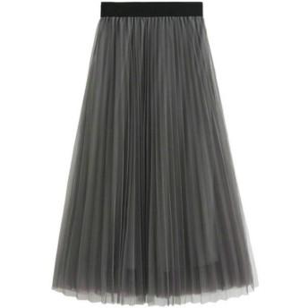レディース プリーツスカート ふわり ウエストゴム 透けない aライン マキシ丈 2層重ねのロングスカート 灰 グレー