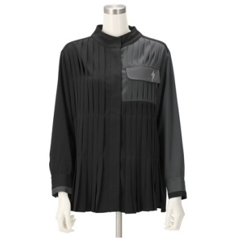 SUPERLADY バイカラー切替プリーツデザインシャツブラウス