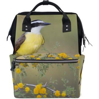 ママバッグ マザーズバッグ リュックサック ハンドバッグ 鳥と花柄 用品収納 旅行用 大容量 多機能 出産祝い