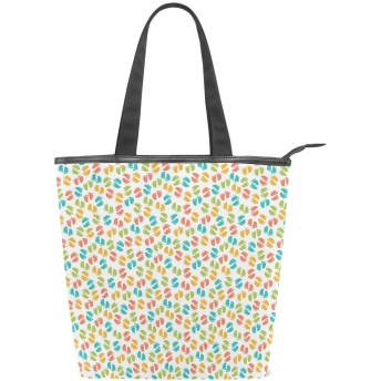 KENADVIトートバッグ 最高級 軽量 キャンバス レディース ハンドバッグ 通勤 通学 旅行バッグ、新生児の足跡誕生、スタイリッシュ グラフィックス 収納袋