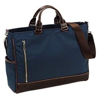 平野鞄 ビジネスバッグ トートバッグ カジュアルバッグ メンズ B4 2way タブレットナイロン ショルダーベルト 通勤 横幅40cm 黒 カーキ 紺 +牛革製ケーブルバンド (紺)