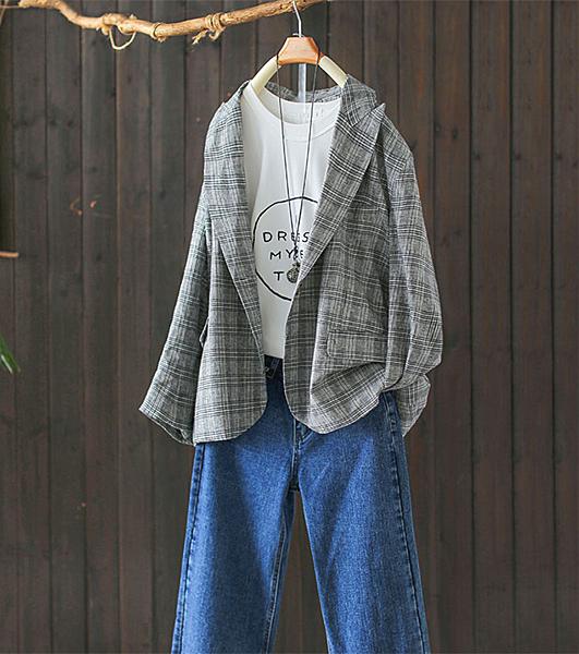棉麻格子西裝外套寬鬆中長版西服/設計家Y9226