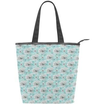 KENADVIトートバッグ 最高級 軽量 キャンバス レディース ハンドバッグ 通勤 通学 旅行バッグ、満開の春の花水平ストライプカモミール、スタイリッシュ グラフィックス 収納袋